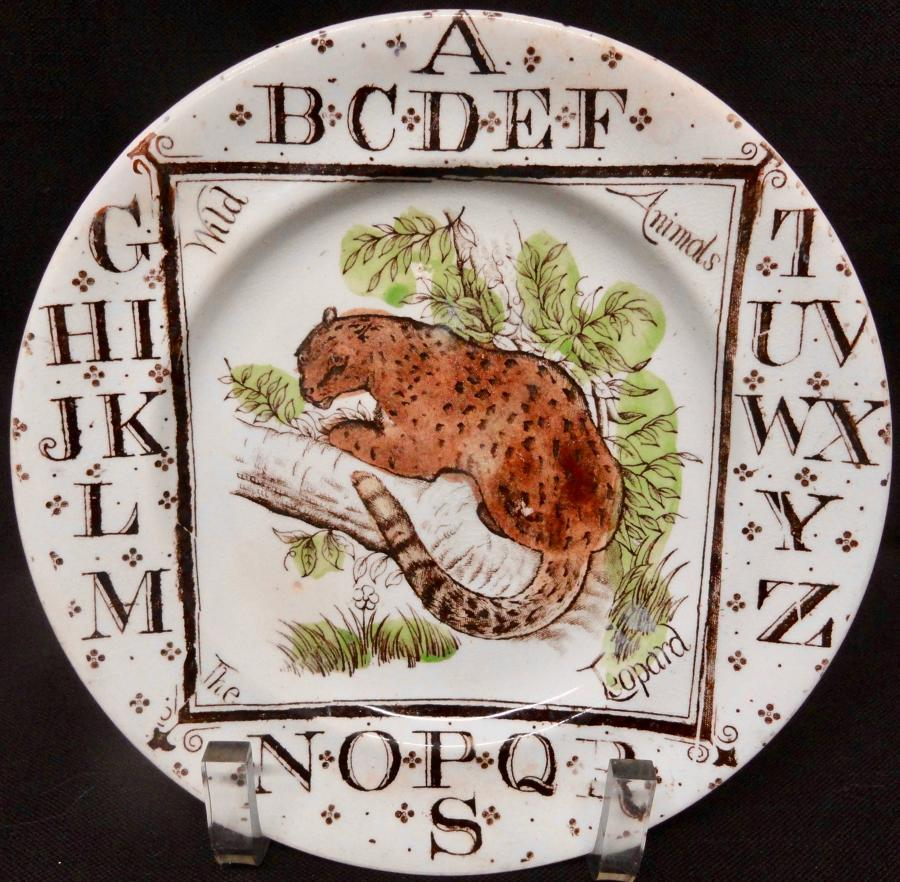 Staffordshire Childrens Alphabet ABC Plate ~ The LEOPARD 1880