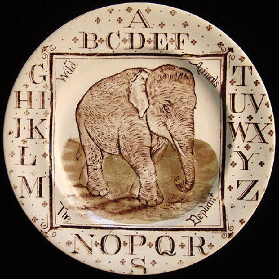 Antique ABC Plate ~ Wild Animals ~ THE ELEPHANT 1880