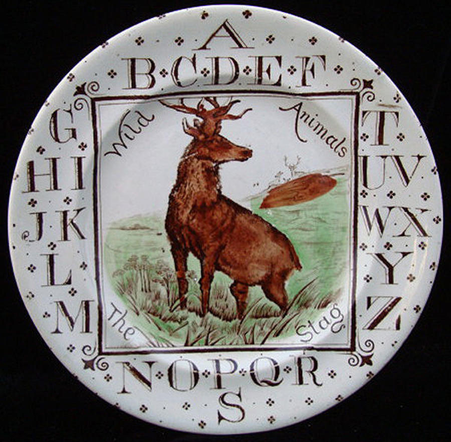 Child's ABC Plate ~ Wild Animals ~ The STAG 1880
