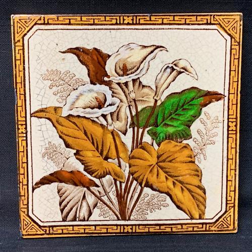 Aesthetic Brown Transferware TILE ~ CALLA LILIES 1887