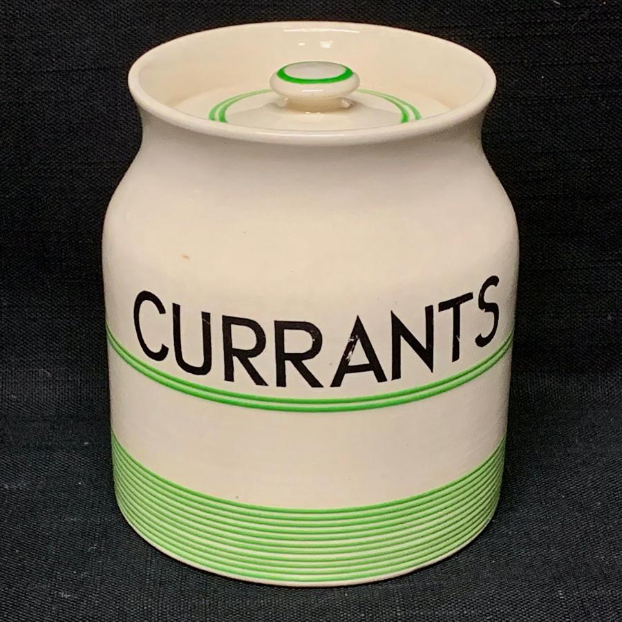 Cornishware Banded Kleen Kitchen Ware Storage Jar ~ CURRANTS ~ c 1940