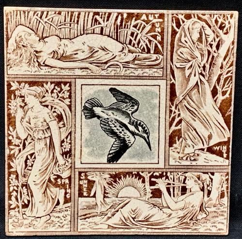 Seasons Tile ~ KINGFISHER ~ Spring - Summer - Autumn - Winter 1876