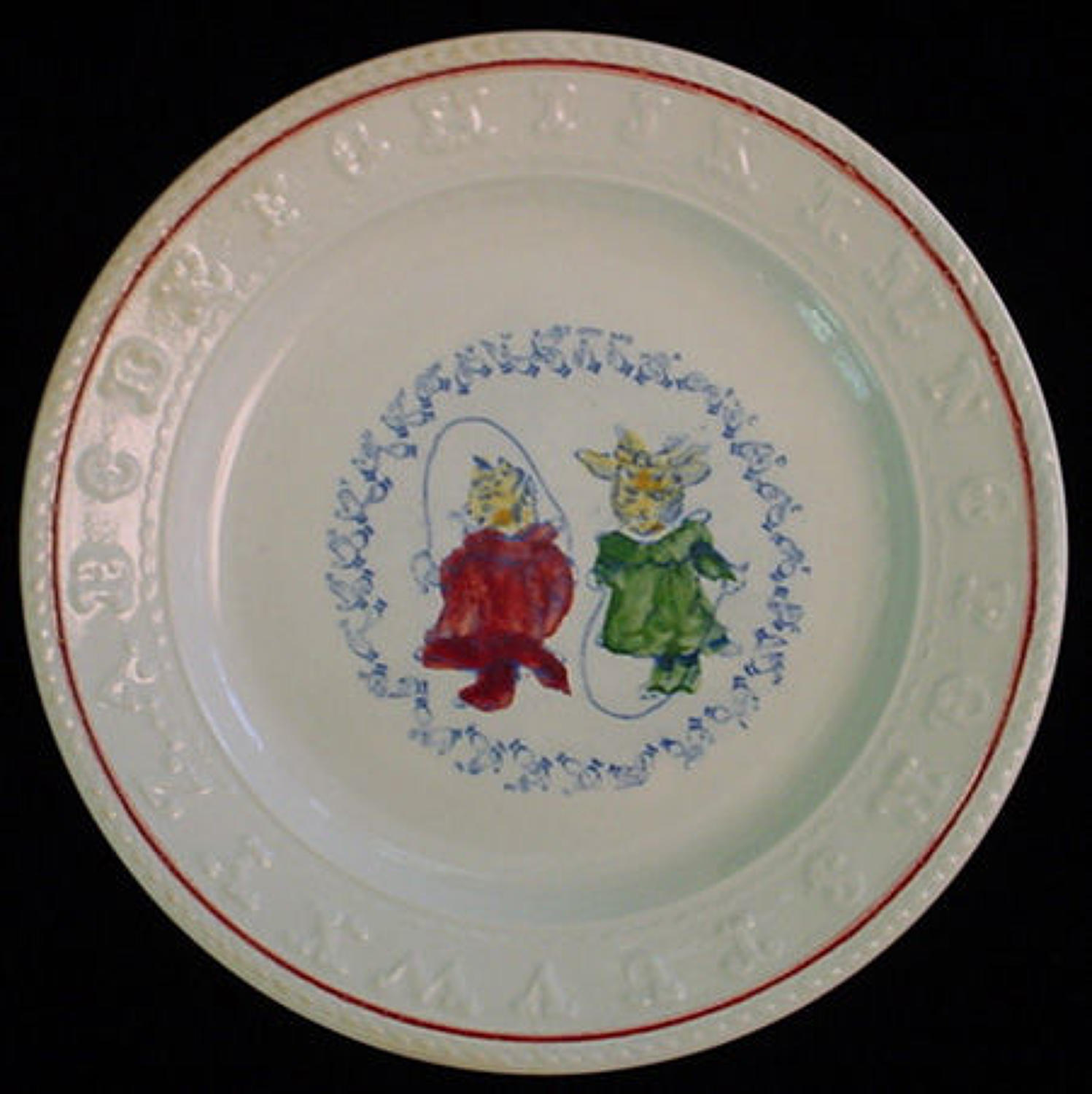 Rare Double ABC Plate ~ CATS Jumping Rope