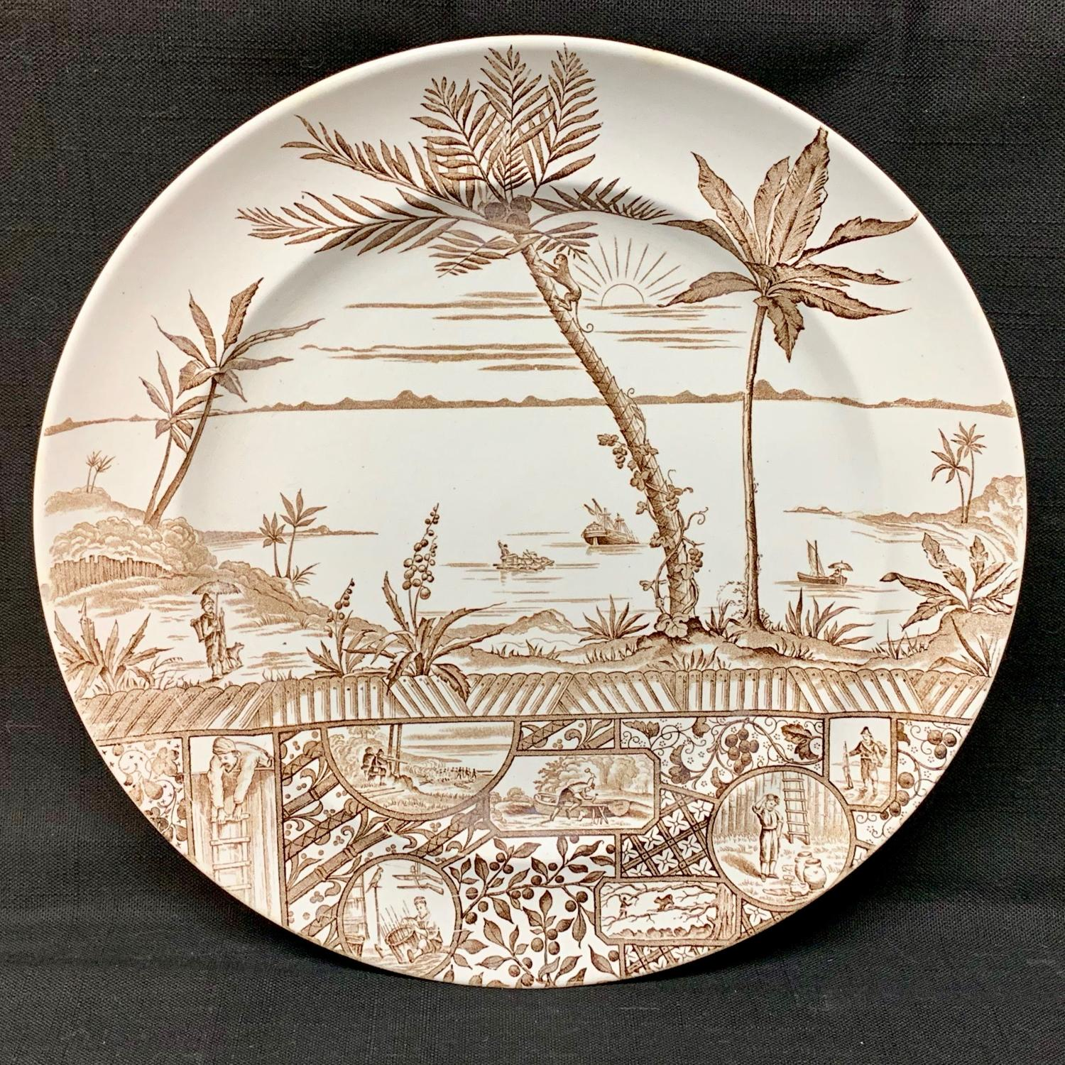 Scarce Aesthetic Movement Large Plate ~ Robinson Crusoe 1881