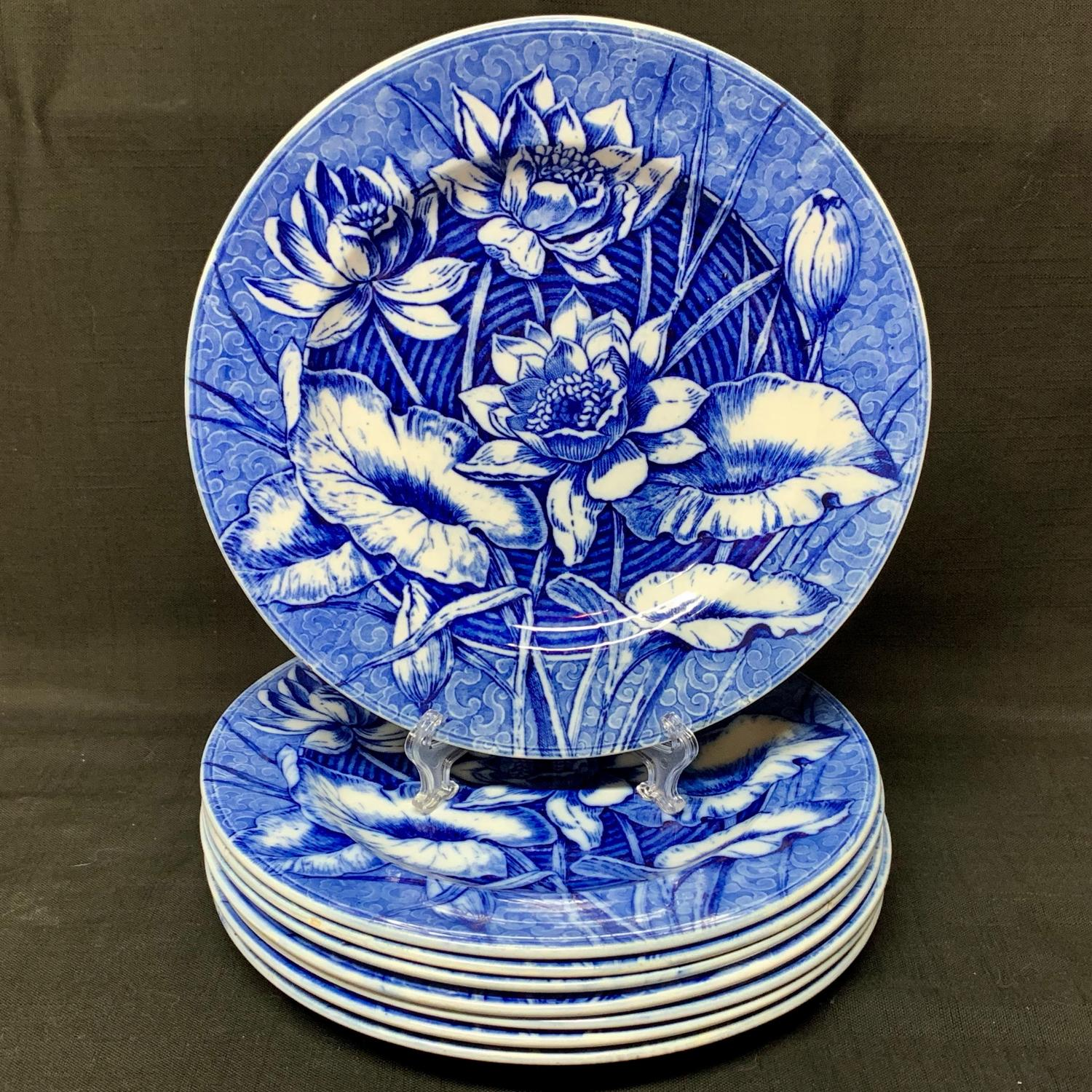 Eight Flow Blue Wedgwood Cabinet Transferware Plates ~ LILY 1903