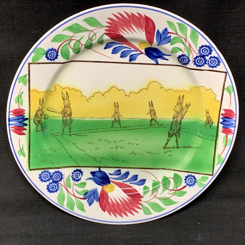 C 1900 ~ Stick Spatter  Rabbitware Rabbit Plate ~ BASEBALL