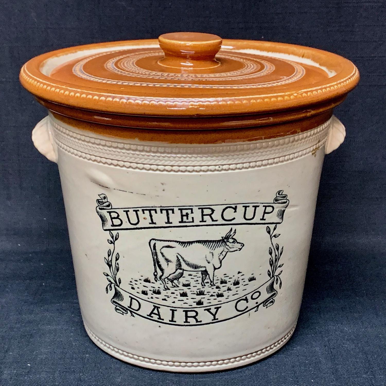 Large 5 lb BUTTERCUP DAIRY Co BUTTER CROCK w LID 1920
