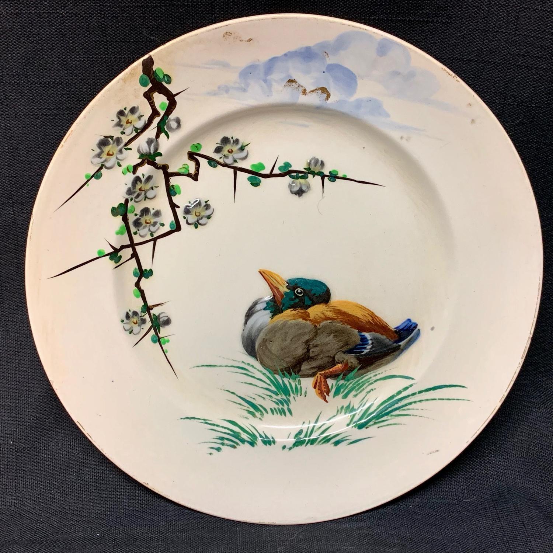 French Polychrome Enameled Ornithological Plate
