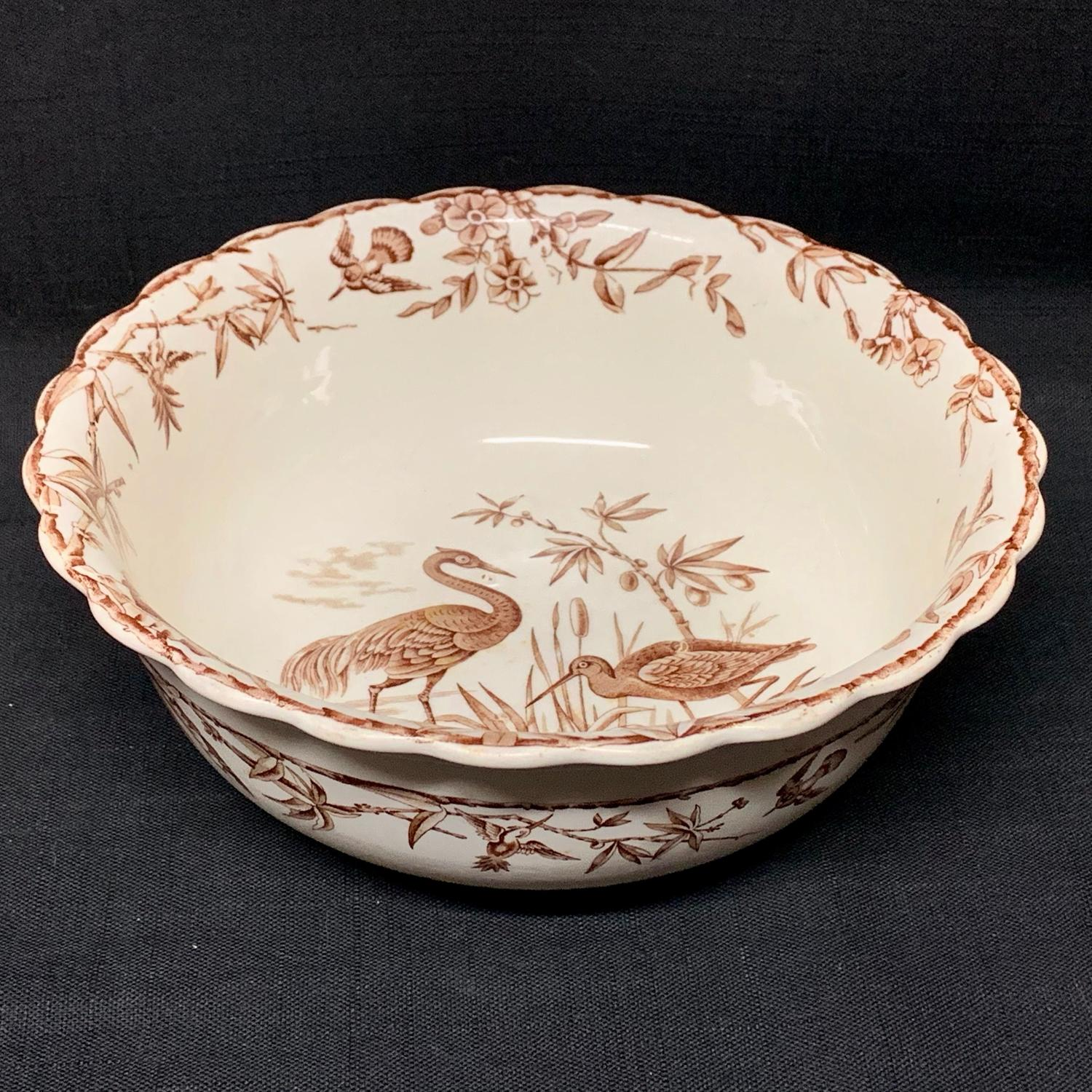 Large Brown Ridgway Staffordshire Potato Bowl ~ INDUS 1885