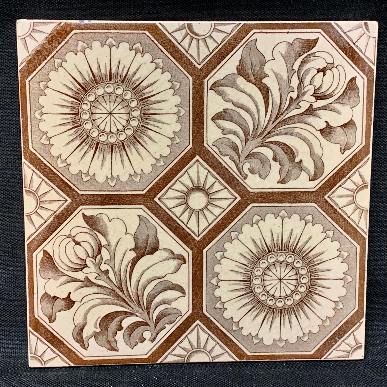Aesthetic Transferware Tile ~ Chrysanthemum Buds ~ 1885