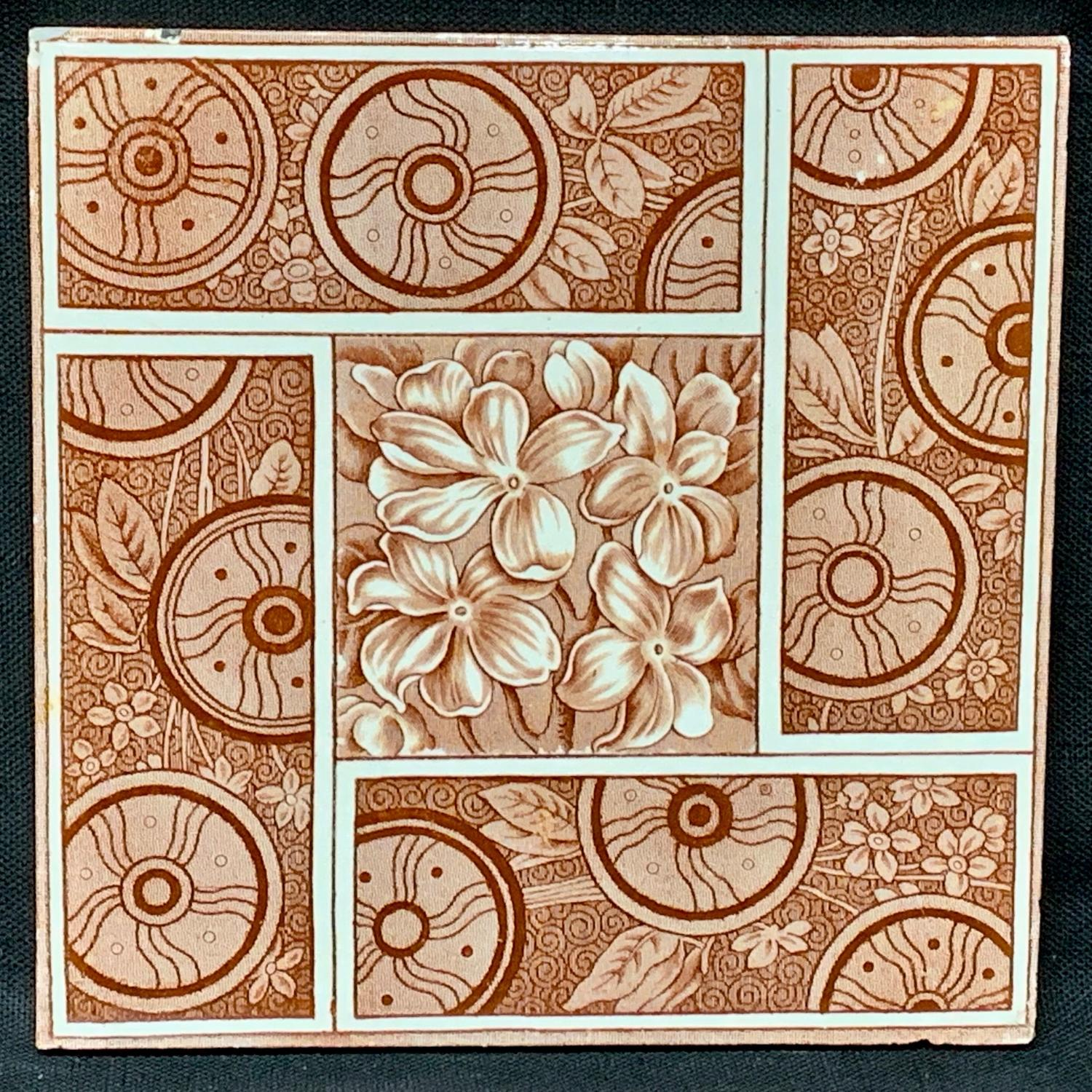 Maroon Red ALMONDS English Tile ~ 1881