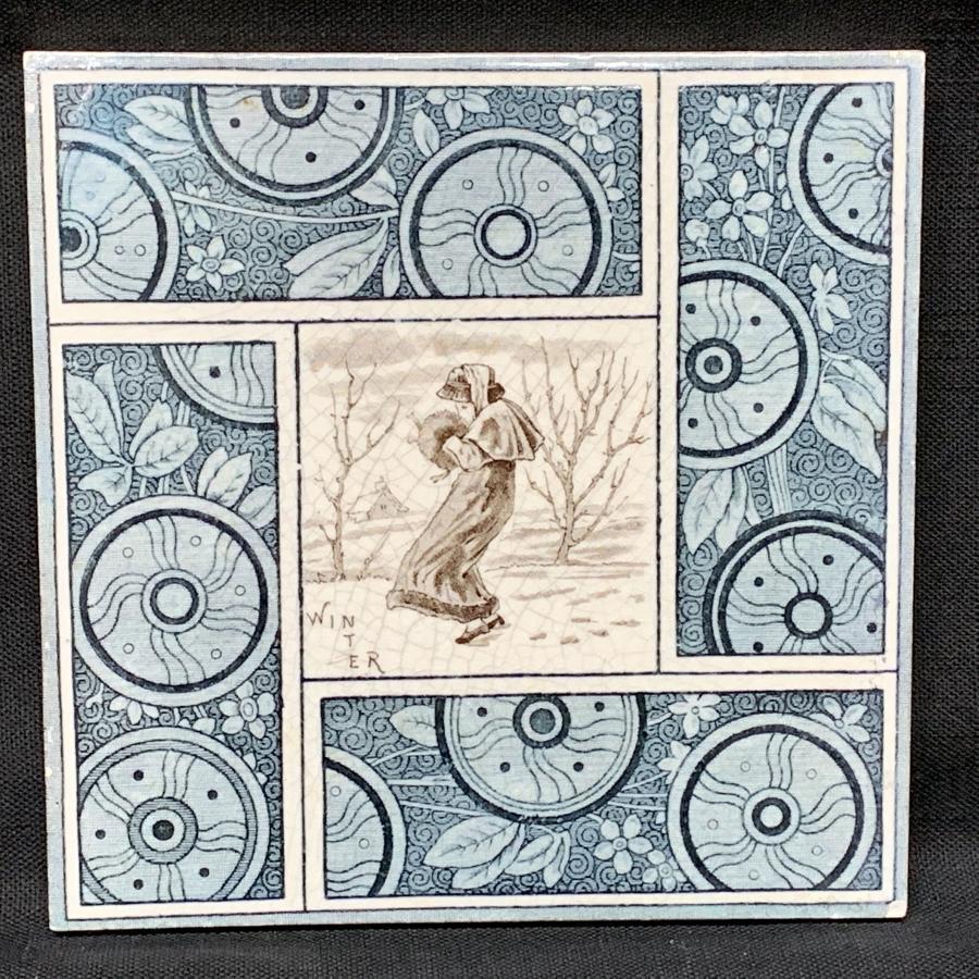 Artist Kate Greenaway English Tile ~  Winter ~ 1881
