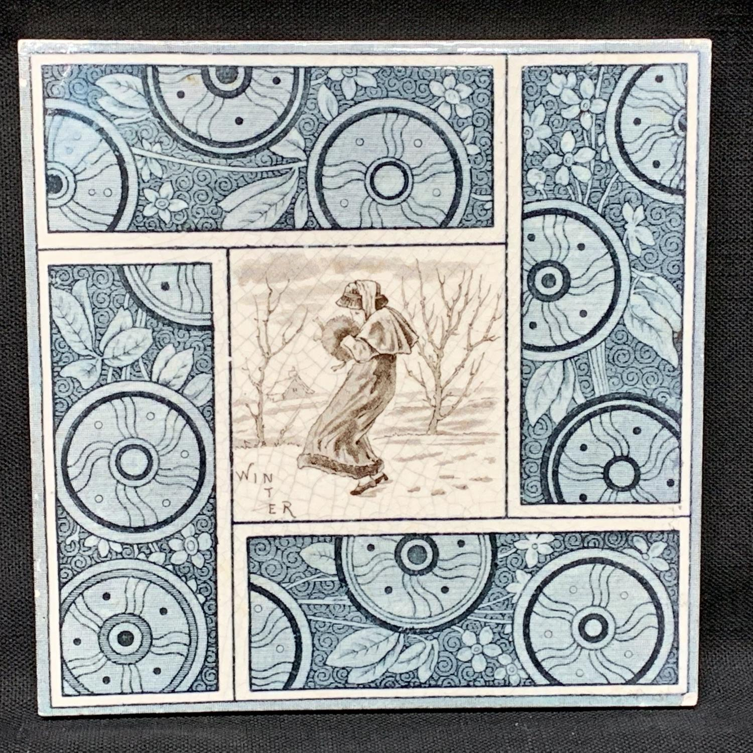 Artist Kate Greenaway English Tile ~  Winter ~ 1881