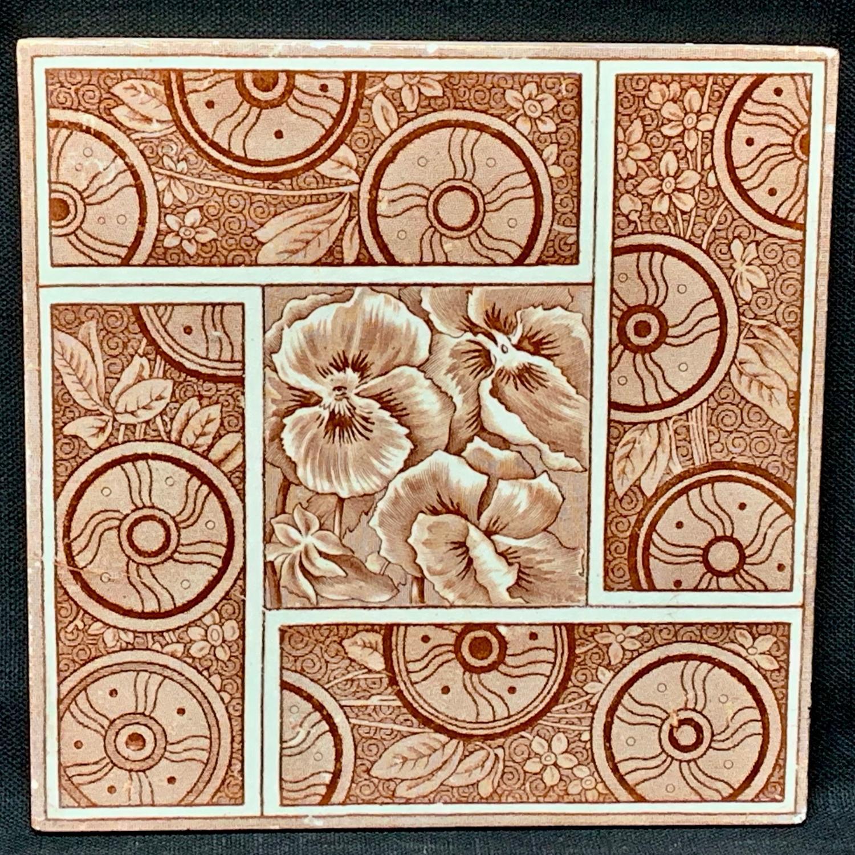 Maroon Red PANSIES English Tile ~ 1881