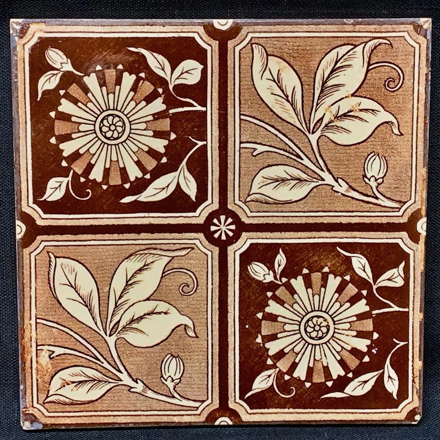 Brown Transferware Tile ~ 4 panel Flowers & Vines 1885