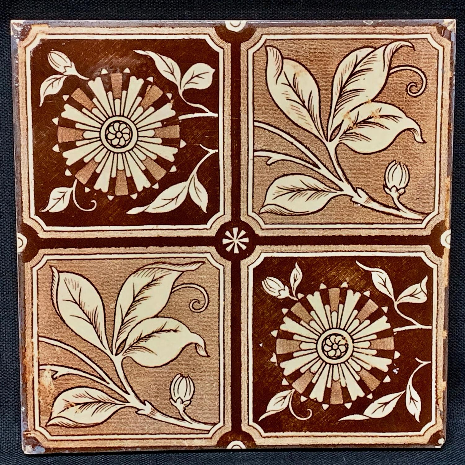 Brown Transferware Tile ~ 4 panel Flowers & Vines 1885