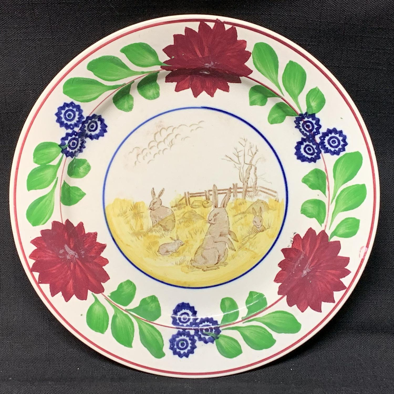 Spongeware Rabbitware Ironstone Plate ~ Adams Rose