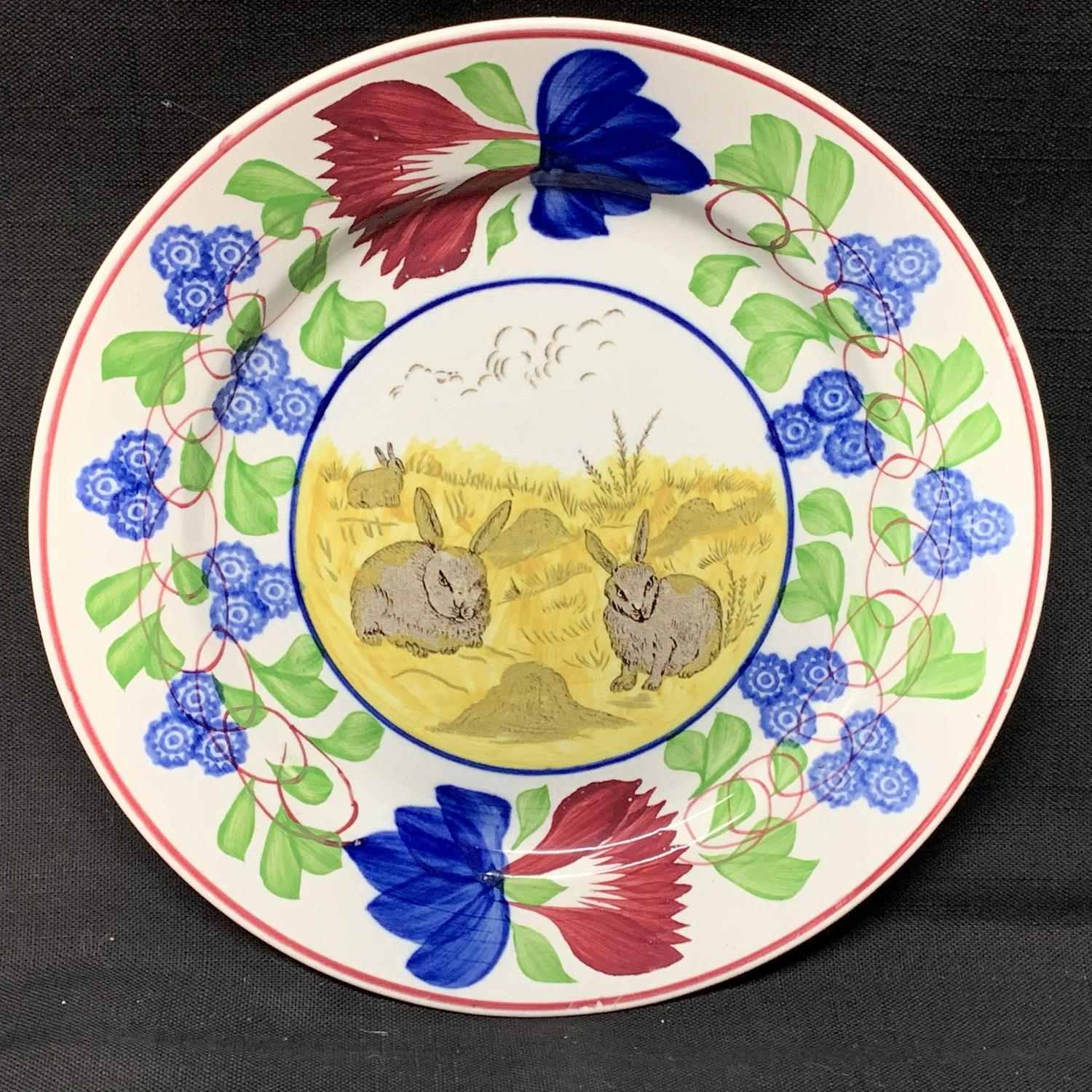 C 1900 ~ Stick Spatter Rabbitware Ironstone Plate ~ Virginia Rose