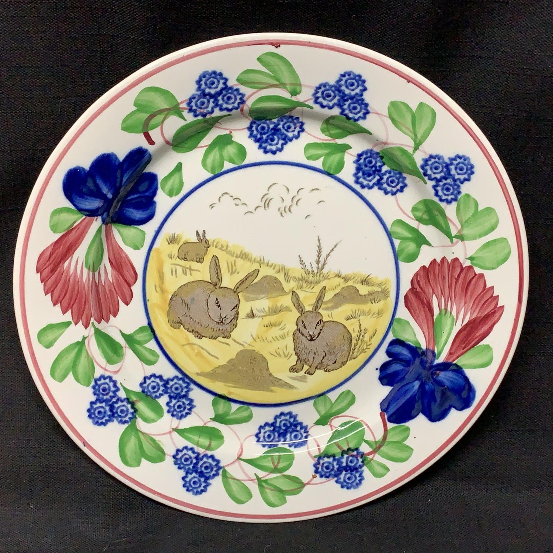 Virginia Rose Pattern ~ Rabbitware Ironstone Plate c1900