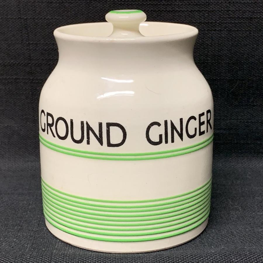 Cornishware Banded Kleen Kitchen Storage Jar ~ GROUND GINGER ~ c 1940