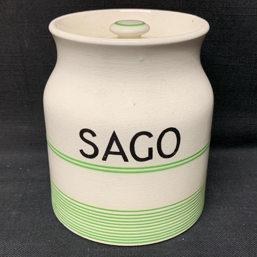 Cornishware Banded Kleen Kitchen Storage Jar ~ SAGO ~ c 1940