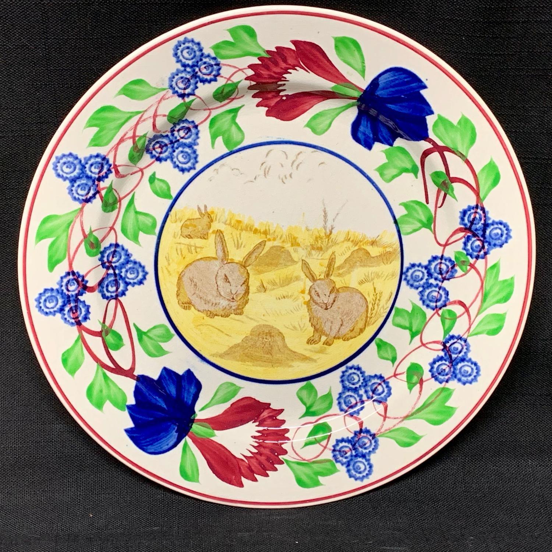 Stick Spatter Rabbitware Ironstone Plate ~ Virginia Rose 1900