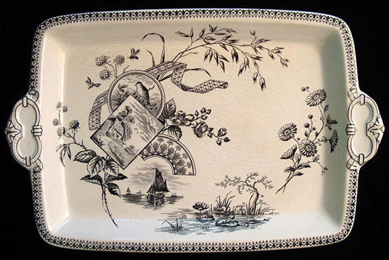 1884 ~ Black Transferware Platter ~ WATERLILIES 1884 Tennyson