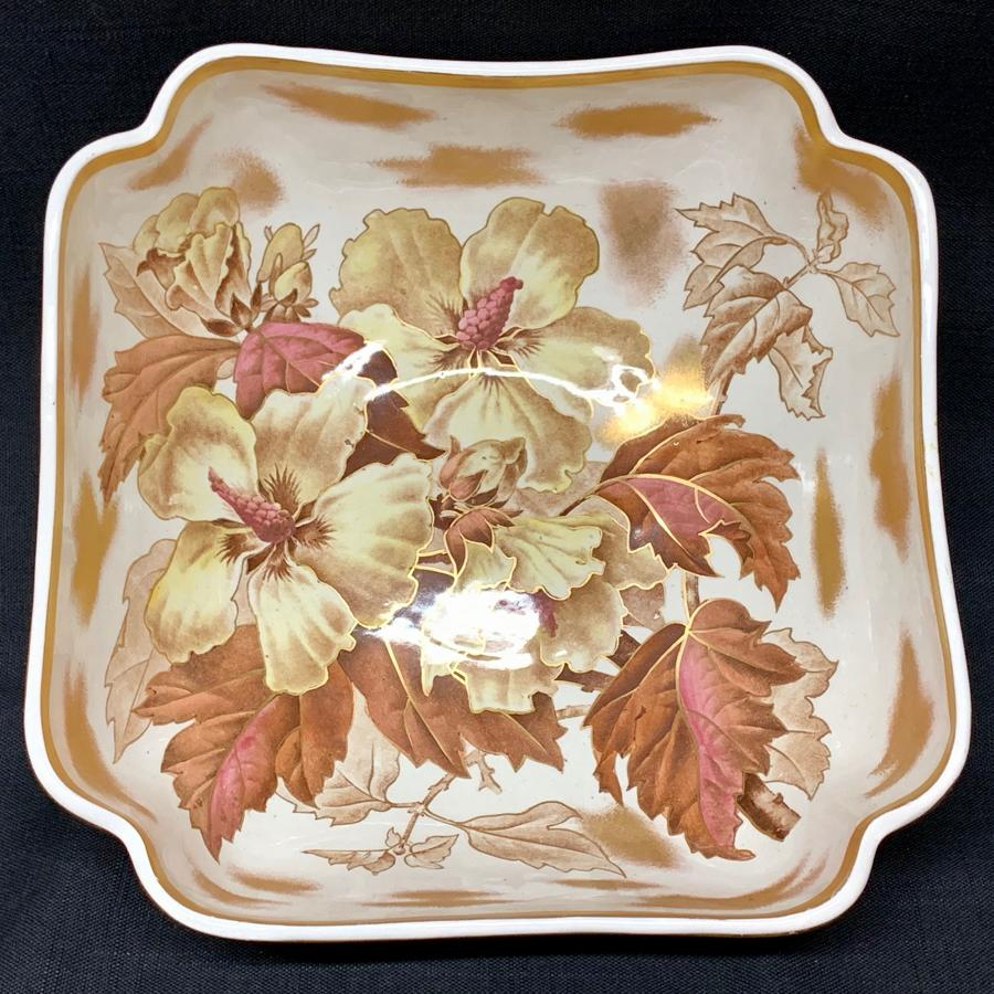 Spectacular Botanical Centerpiece Fruit Bowl ~ HIBISCUS 1882