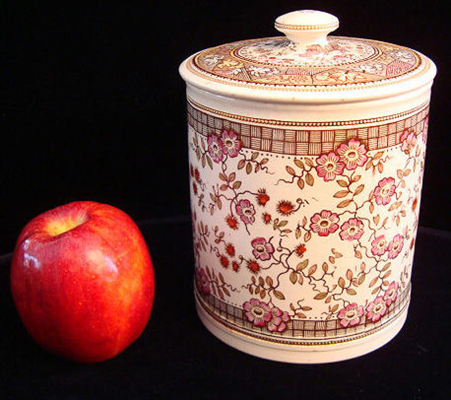 Polychrome Brown Transferware Biscuit Jar ~ 1875 GORDON