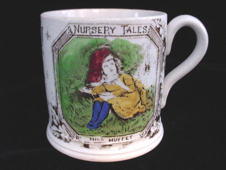 1880 Staffordshire Alphabet ABC Mug ~ Little Miss Muffet