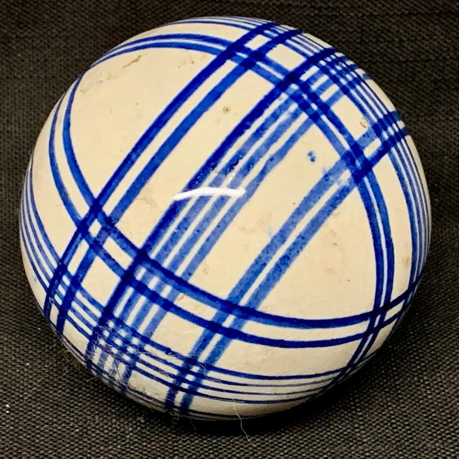 Victorian Blue Striped Scottish Carpet Ball 1860