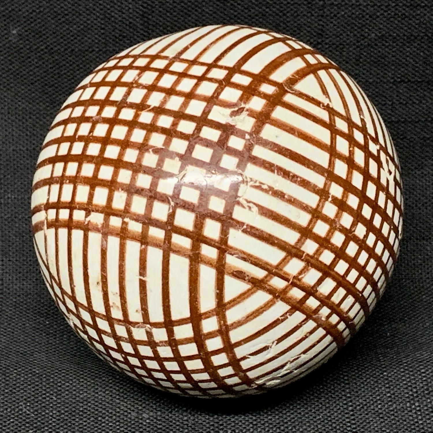 Victorian Brown Striped Scottish Carpet Ball 1860