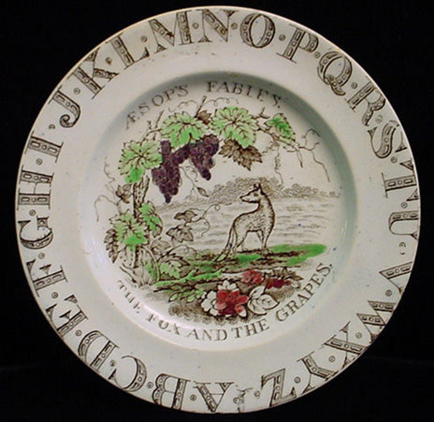 Alphabet ABC Nursery Plate ~ Fox + Grapes ~ Aesops Fables 1880
