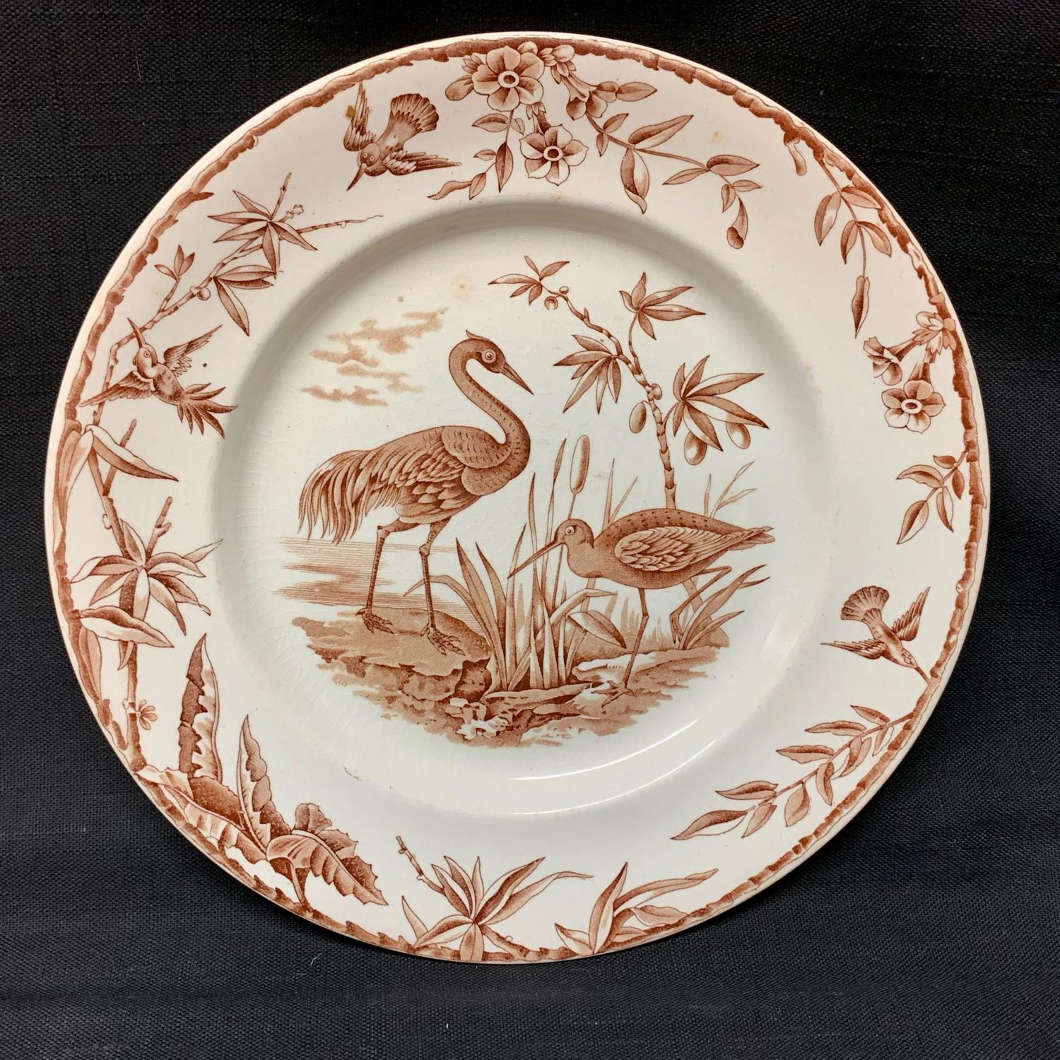 Antique Brown Transferware Plate ~ Outrageous Birds INDUS 1885