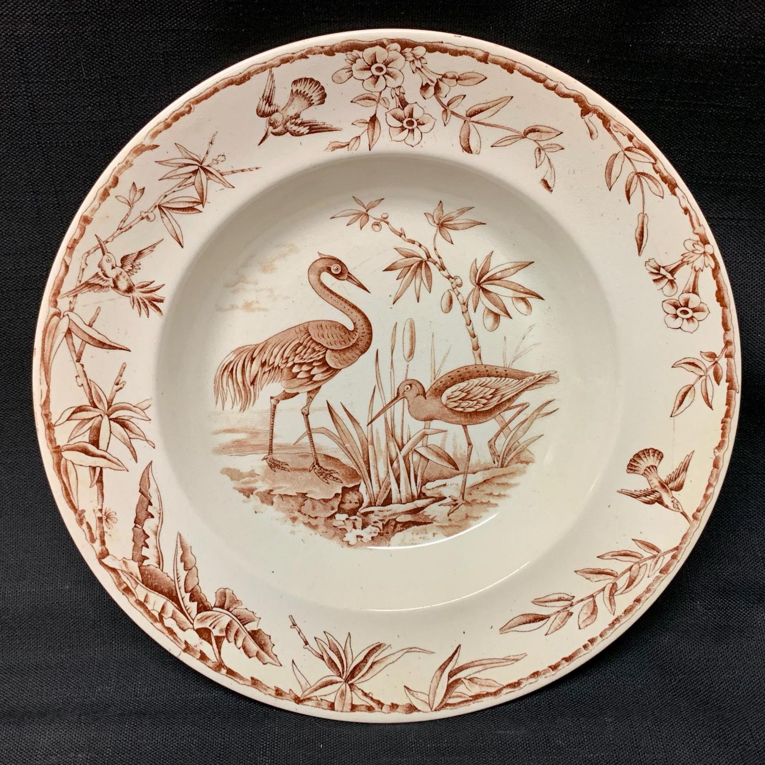 Staffordshire Aesthetic Transferware Soup Plate ~ INDUS 1885