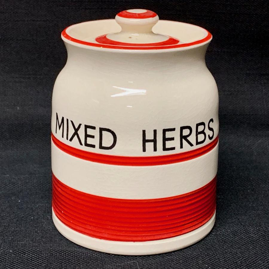 Cornishware Banded Kleen Kitchen Storage Jar ~ MIXED HERBS ~ c 1940