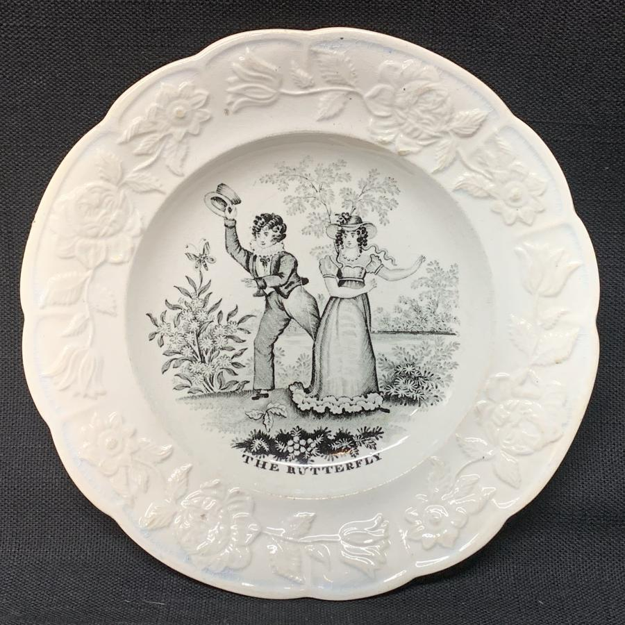 Early Child's Pearlware Transfer Printed Plate THE BUTTERFLY 1840