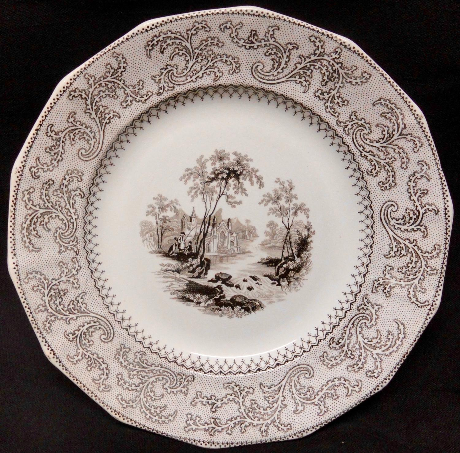 Staffordshire Transferware Brown and White Plate  ~ ABBEY 1840