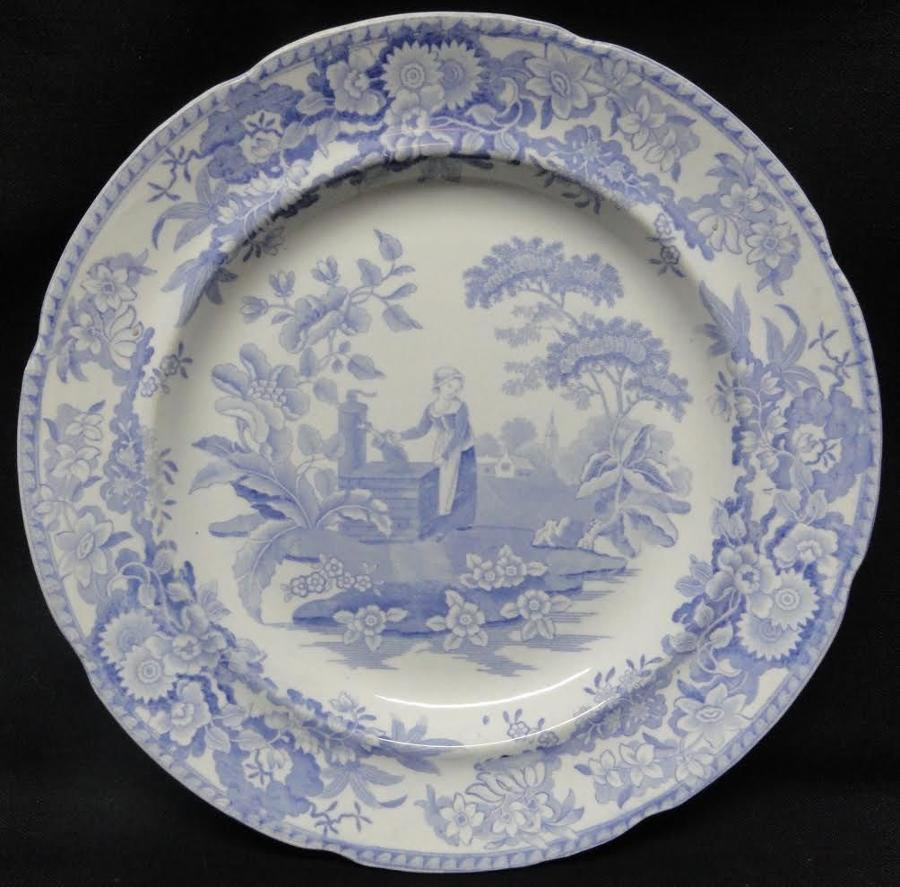 Romantic Pearlware Blue Transferware Plate ~ Girl at the Well ~ c1840