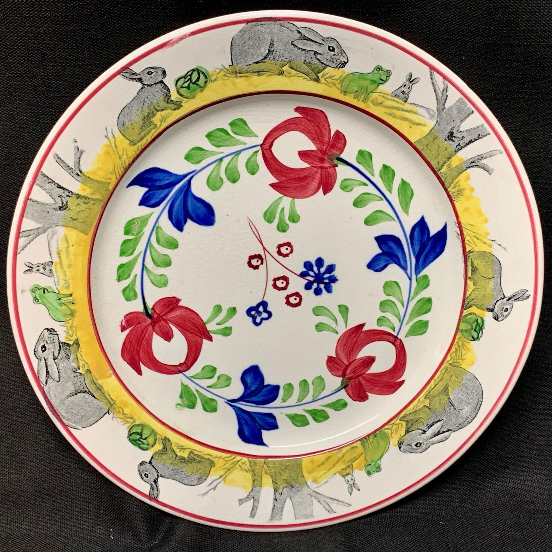 C 1900 ~ Stick Spatter Spongeware Rabbitware Ironstone Plate ~ Rose