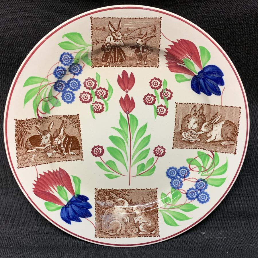Stick Spatter Spongeware Rabbitware Ironstone Plate ~ c 1900