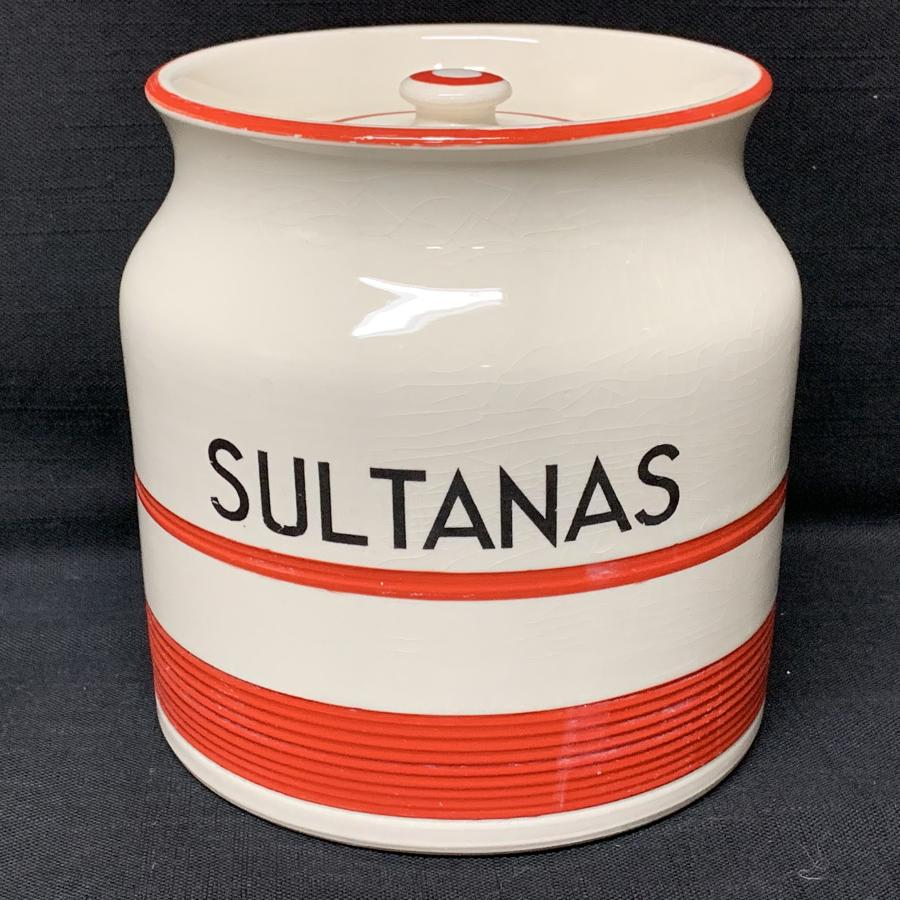 Cornishware Banded Kleen Kitchen Ware Storage Jar ~ SULTANAS ~ c 1940