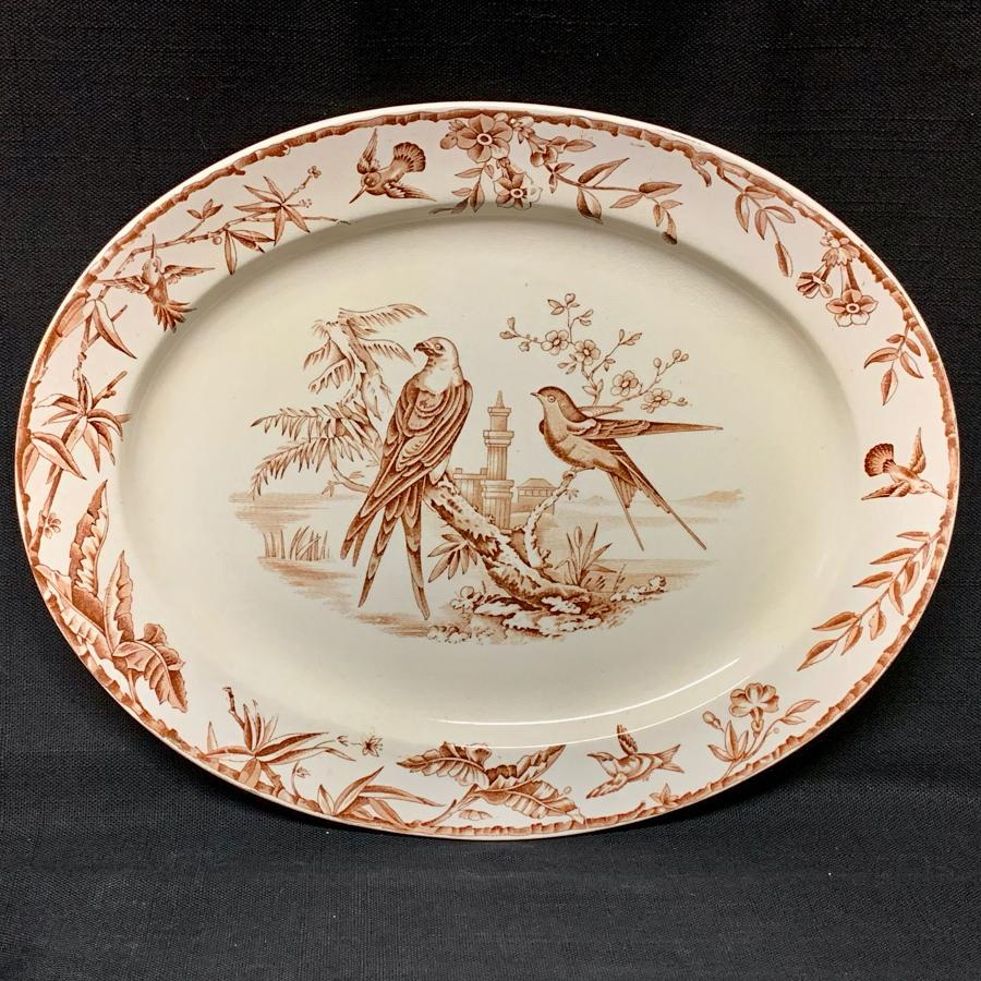 Aesthetic Movement Brown Transferware Platter ~ Sparrow Hawk 1877