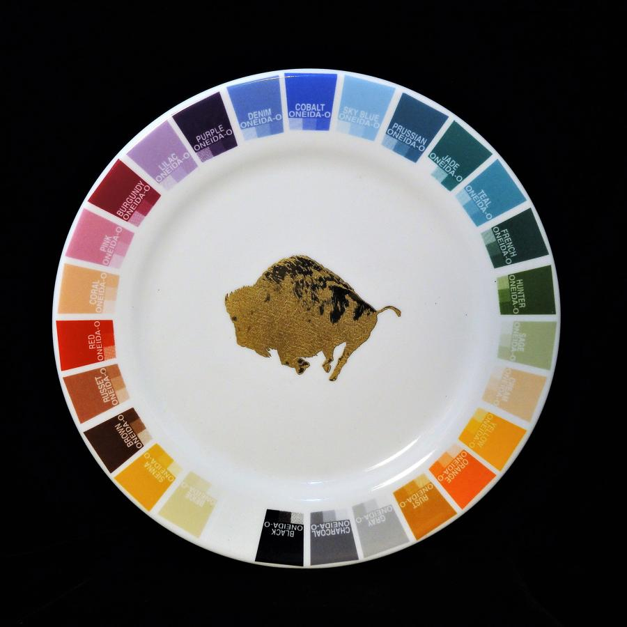 Artist Paint Color Salesman Sample Plate Oneida Buffalo Pottery 1960