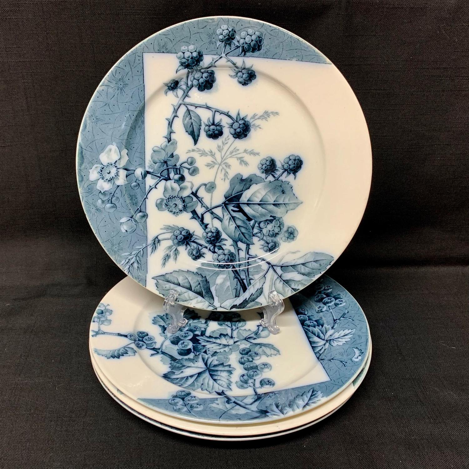 4 Mulberry Blue Transferware Botanical Fruit Plates  ~ 1884