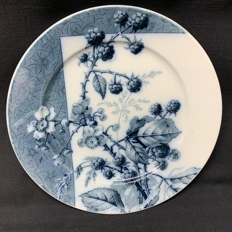 Mulberry Blue Transferware Botanical Fruit Plate  ~ 1884 ~ Raspberries