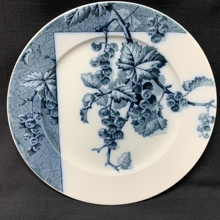 Mulberry Blue Transferware Botanical Fruit Plate  ~ 1884 ~ Gooseberrie