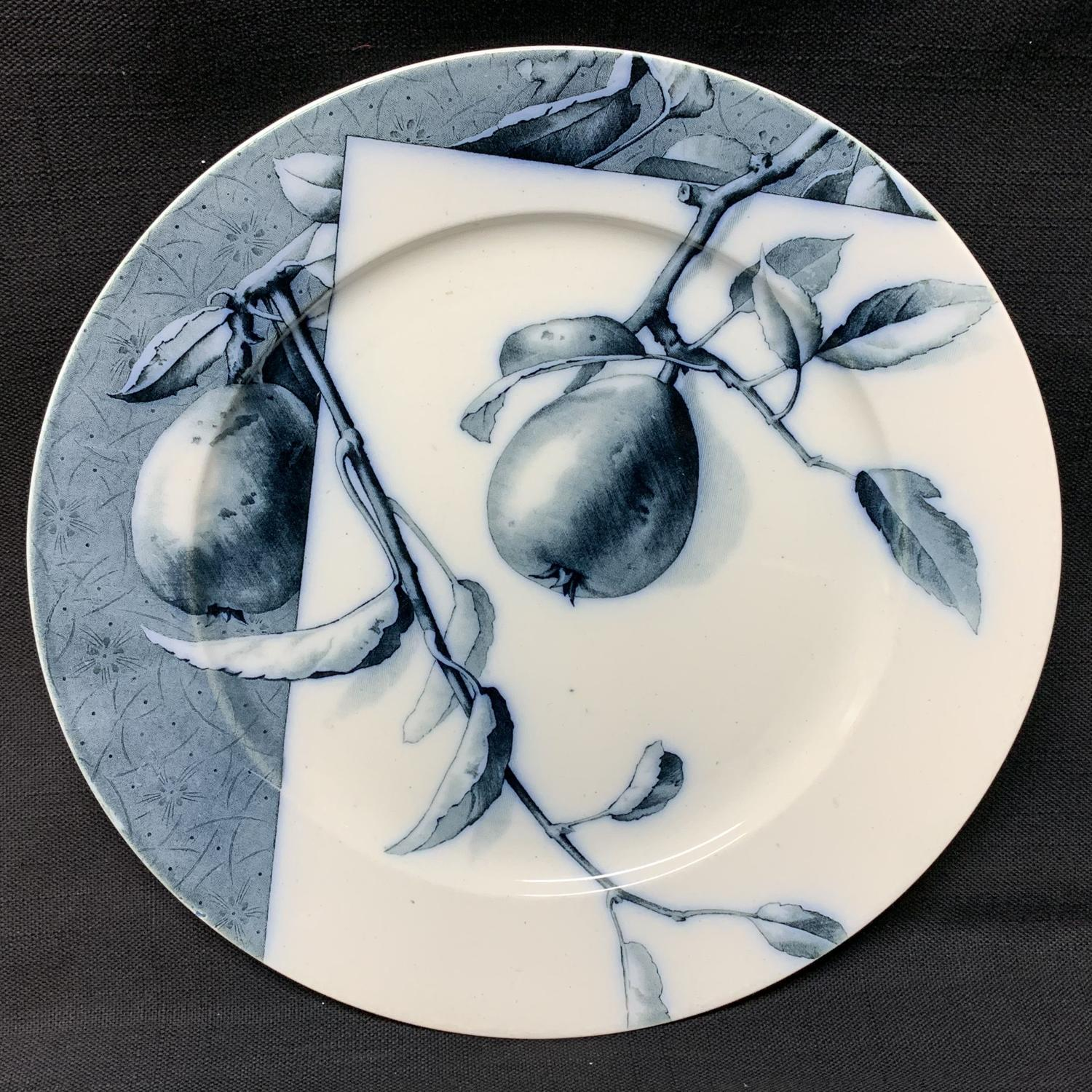 Mulberry Blue Transferware Botanical Fruit Plate  ~ 1884 ~ Pears