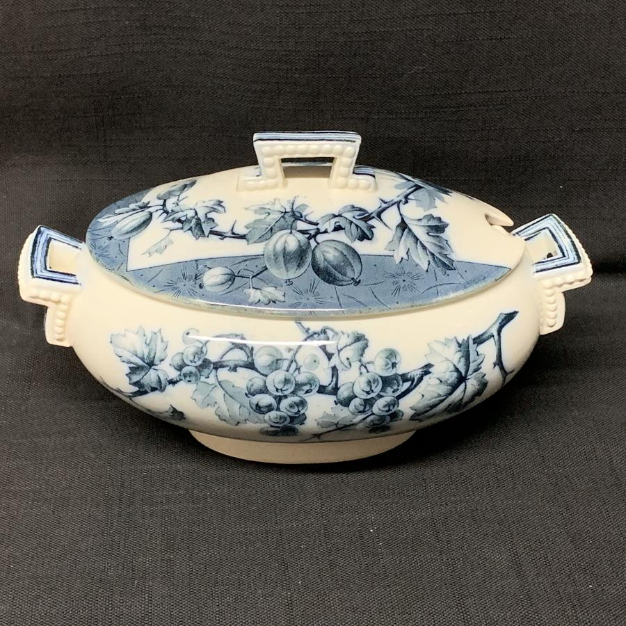 Mulberry Blue Gainsboro Tureen GOOSEBERRIES 1884