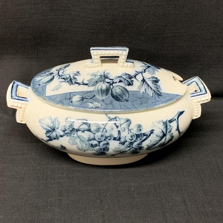 Mulberry Blue Gainsboro Tureen GOOSEBERRIES 1884